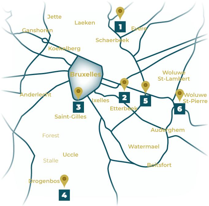Carte des différents lieux